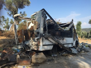 Destroyed During Protest Outside Moria